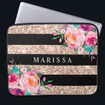 """Pink Floral Black Rose Gold Glitter Stripes Laptop Sleeve<br><div class=""""desc"""">Girly-Girl-Graphics at Zazzle: Pink Floral Black Rose Gold Glitter Stripes Computer Laptop Sleeve - Customizable Stylish Elegant Pretty Pastel and Colorful Pink, Aqua Blue, and Yellow Gold and Romantic Vintage Watercolor Country Floral Flowers with Modern Cool Black and Rose Gold Glitter Geometric Stripe Pattern Teen Girls and Women's Fun Fashion...</div>"""