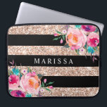 "Pink Floral Black Rose Gold Glitter Stripes Laptop Sleeve<br><div class=""desc"">Girly-Girl-Graphics at Zazzle: Pink Floral Black Rose Gold Glitter Stripes Computer Laptop Sleeve - Customizable Stylish Elegant Pretty Pastel and Colorful Pink, Aqua Blue, and Yellow Gold and Romantic Vintage Watercolor Country Floral Flowers with Modern Cool Black and Rose Gold Glitter Geometric Stripe Pattern Teen Girls and Women's Fun Fashion...</div>"