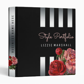 Pink Floral | Black Silver Stripes Hair Stylist Binder