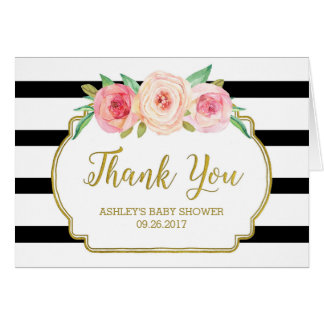 Pink Floral Black Stripes Baby Shower Thank You Card