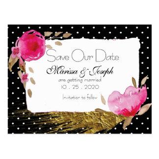 Pink Floral Black & White PolkaDot Save Our Date Postcard