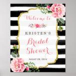 Pink Floral Black White Stripes Bridal Shower Sign Poster