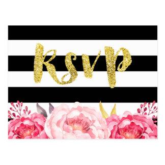 Pink Floral Black White Stripes Gold Glitter RSVP Postcard
