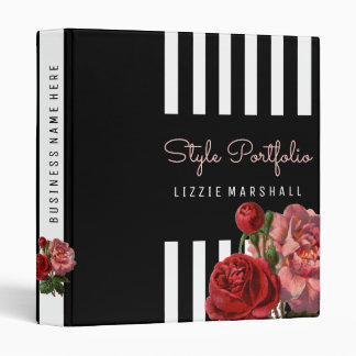 Pink Floral | Black White Stripes Hair Stylist 3 Ring Binder