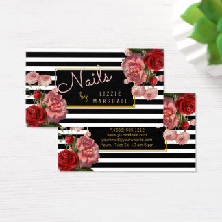 Pink Floral | Black White Stripes Nail Tech Business Card