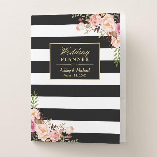 Pink Floral Black White Stripes Wedding Planner Pocket Folder