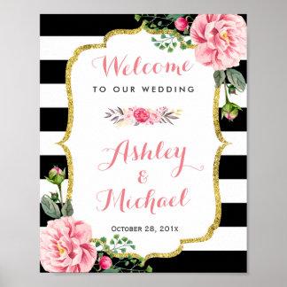 Pink Floral Black White Stripes   Wedding Sign Poster