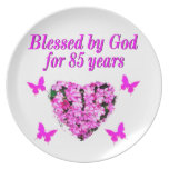 PINK FLORAL BLESSED BY GOD FOR 85 YEARS PLATE