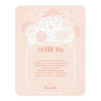 Pink Floral Blooms Mason Jar Wedding Thank You 4.25x5.5 Paper Invitation Card