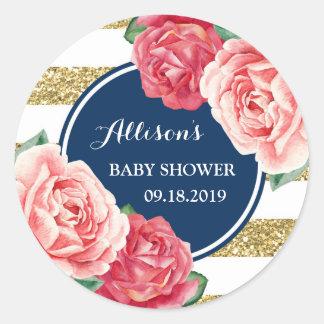 Pink Floral Blue Gold Stripes Baby Shower Tag