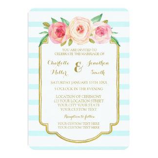 Pink Floral Blue Stripes Gold Wedding Invitations