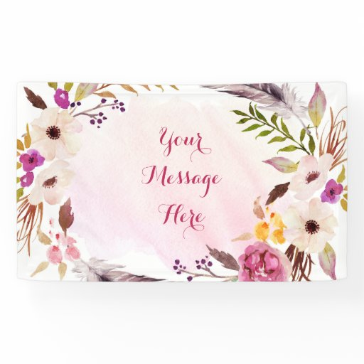 Pink Floral Boho Bridal Shower Banner
