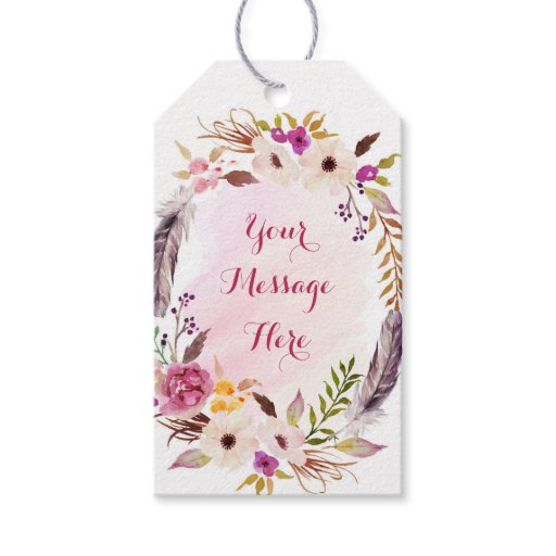 Pink Floral Boho Bridal Shower Gift Tags