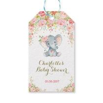 Pink Floral Boho Elephant Baby Shower Favor Tag