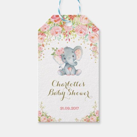 Pink Floral Boho Elephant Baby Shower Favor Tag Zazzle Com