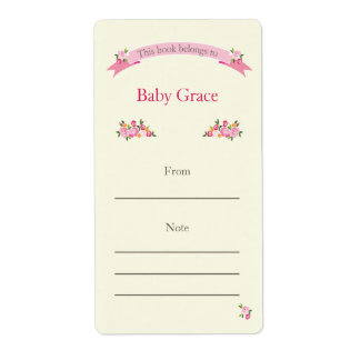 Pink Floral Bookplate Shipping Label