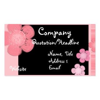 Pink Floral Border Business Cards