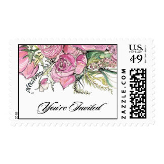 Pink Floral Bouquet Postage Stamps