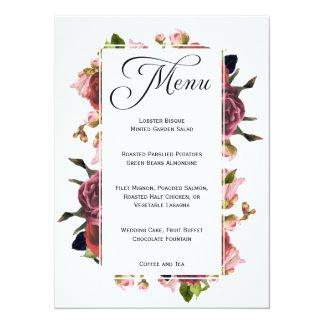 Pink Floral Bouquet Wedding Menu Card