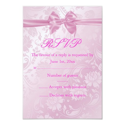 Pink Floral Bow RSVP 3.5x5 Paper Invitation Card