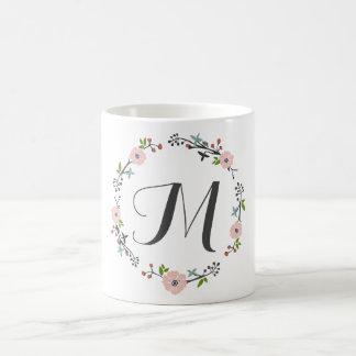 Pink Floral Branch Wreath | Monogram Mug