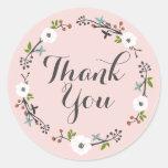 Pink Floral Branch Wreath | Thank you Sticker