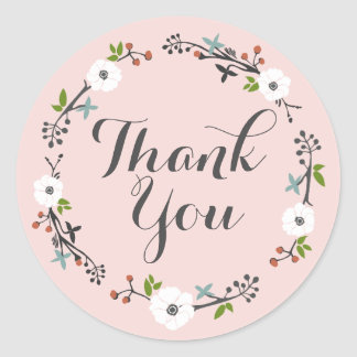 Pink Floral Branch Wreath | Thank you Sticker