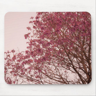 Pink Floral Branches Mouse Pad