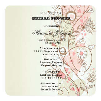 Pink Floral Bridal Card