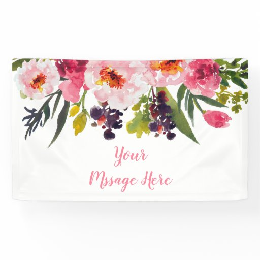 Pink Floral Bridal Shower Banner