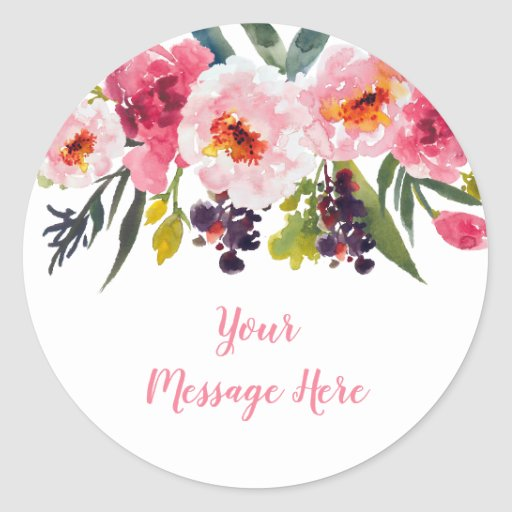 Pink Floral Bridal Shower Classic Round Sticker