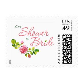 Pink Floral Bridal Shower Design Stamp