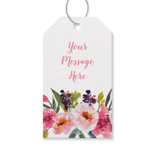 Pink Floral Bridal Shower Gift Tags