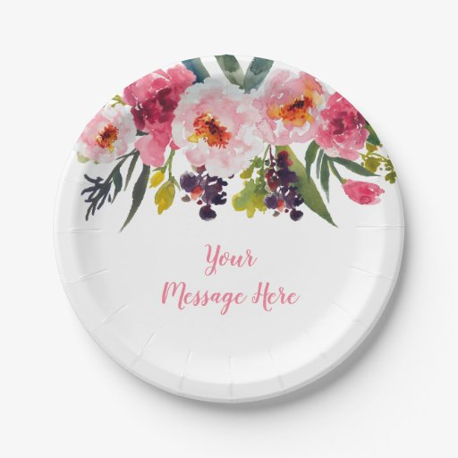 Pink Floral Bridal Shower Paper Plate