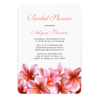 Pink Floral Bridal Shower Tropical Plumeria Card