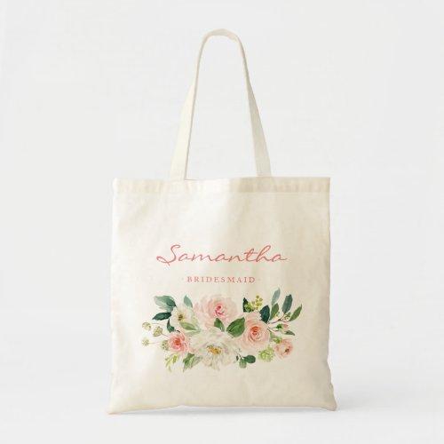Pink floral Bridesmaid Personalized Tote Bag