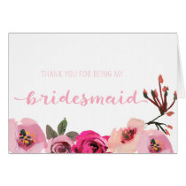 Pink Floral Bridesmaid Thank You Wedding Card