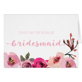Pink Floral Bridesmaid Thank You Wedding Card