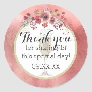 Pink Floral Brunch and Bubbly Wedding Shower Classic Round Sticker