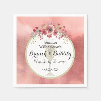 Pink Floral Brunch and Bubbly Wedding Shower Paper Napkin
