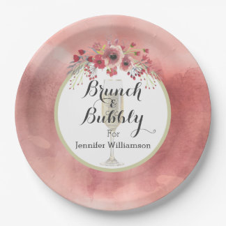 Pink Fl Brunch And Bubbly Wedding Shower Paper Plate