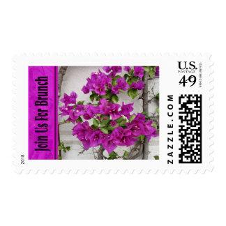 pink floral brunch invitation postage stamp