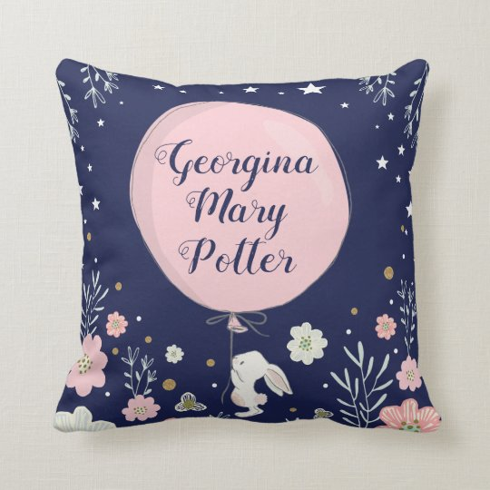 Pink Fl Bunny Rabbit Nursery Decor Cushion