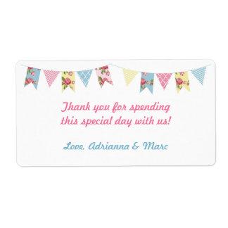Pink Floral Bunting Baby Shower Favor Label