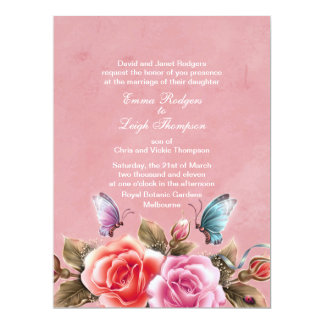 Pink Floral Burst Wedding Invitation