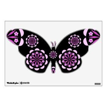 Pink Floral Butterfly Wall Decal by Casefashion at Zazzle