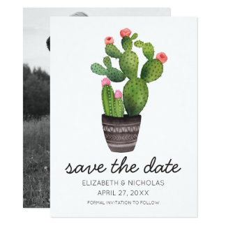 Pink Floral Cactus - Save The Date Card