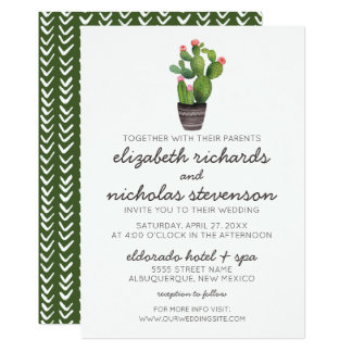 Pink Floral Cactus - Wedding Invite