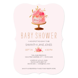 Pink Floral Cake Its a Girl Baby Shower Invite