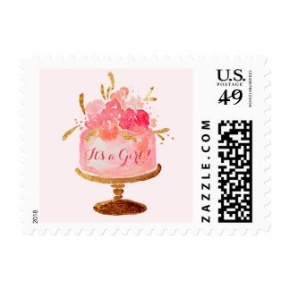 Pink Floral Cake Its a Girl Baby Shower Stamps